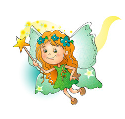 Adorable little fairy with a magic wand on white background