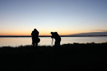 Fotografi al tramonto nelle saline di Cervia