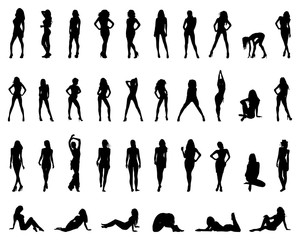 Black silhouettes of girls in various poses, vector