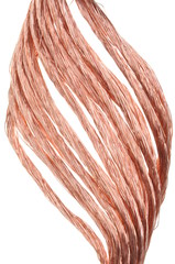 Red copper wire isolated on white background