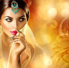Beautiful arabic woman portrait. Arabian girl with menhdi tattoo