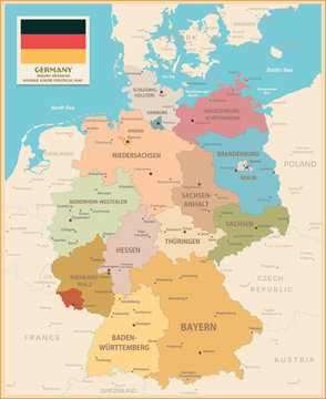 Map of Germany. Vintage colors
