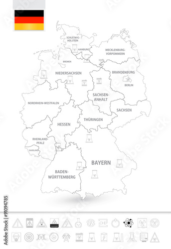 Outline Map Of Germany.Outline Map Of Germany With Nuclear Power Plants Stock Image And