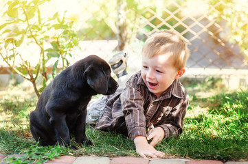 Cute little boy kneeling with his puppy labrador smiling at camera