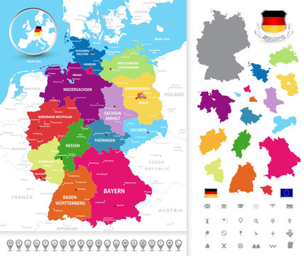 Political map of Germany. Political map of Germany with its fede