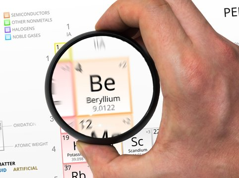 Beryllium symbol - Be. Element of the periodic table zoomed with