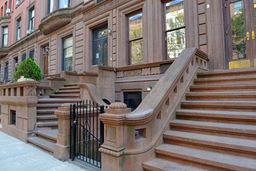 Brownstone apartment building facade, New York