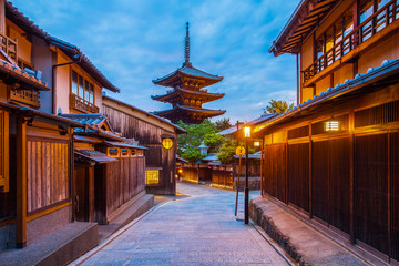 Japanese pagoda and old house in Kyoto at twilight Wall mural