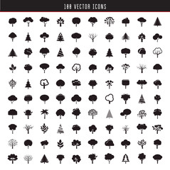Collection of Hundred Black Trees. Vector icons.