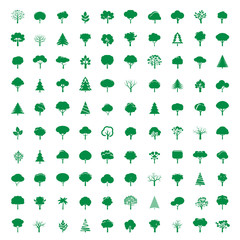Collection of GREEN Trees. Vector symbol and icon.