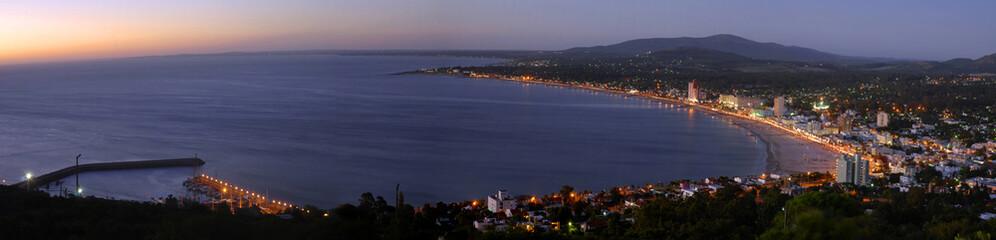 Summertime panorama coast landscape view