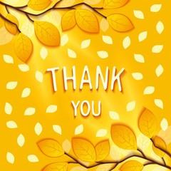 Gentle autumn greeting card with to wish gratitude on background of branches and leaves. Vector eps 10