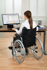 Architect On Wheelchair Looking At Blueprint On Computer