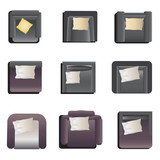 Sofa top view set 2 for interior , vector illustration\