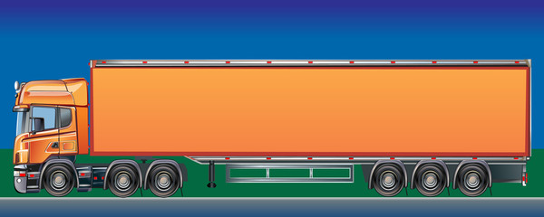 Orange Cargo Delivery Truck