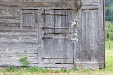 Old door in a wooden shed