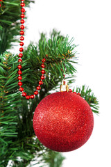 Christmas tree decorated red balls