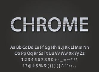 chrome metallic font