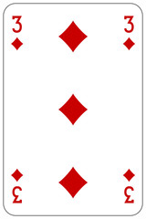 Poker playing card 3 diamond