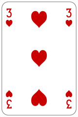 Poker playing card 3 heart