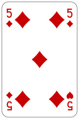 Poker playing card 5 diamond