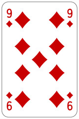 Poker playing card 9 diamond