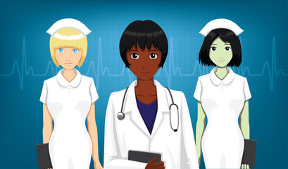 Two Nurses and Doctor Front Portrait Cartoon Vector Illustration