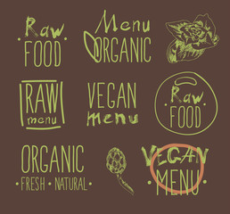 Raw vegan food. calligraphy