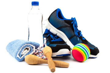 Sport shoes, equipment on a white background.