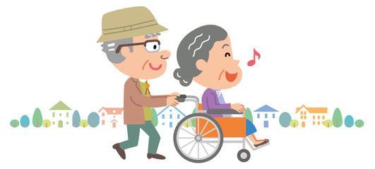 老老介護 車椅子 高齢者 町並