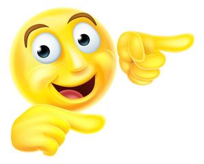 Emoji emoticon smiley pointing