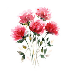 Red flowers. Watercolor floral decoration. Floral bouquet. Floral background. Birthday card.