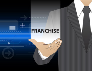 Concept Businessman in his hands , Franchise