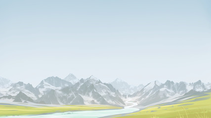 Spring hiking in the mountains. Green valley along with the mountains. Digital background raster illustration.