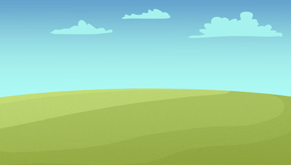 Wide green fields under the cloudy sky. Digital background raster illustration.