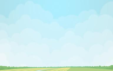 Green fields under the cloudy sky. Digital background raster illustration.