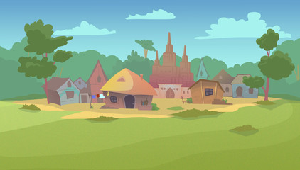 Small village surrounded by green fields, forest and garden. Digital background raster illustration.