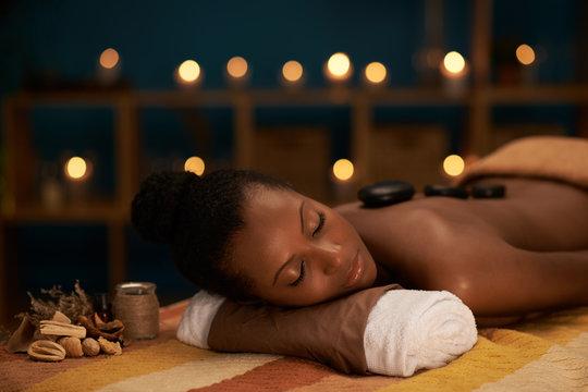 Enjoying stone massage