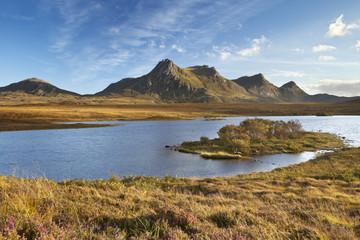 Scottish Highlands, lake and mountains of Ben Loyal, Scotland