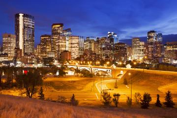 Skyline of Calgary, Alberta, Canada at night
