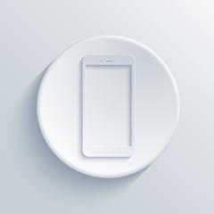 Vector modern smartphone light circle icon.