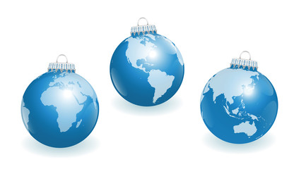 Blue christmas tree balls with three different angles of the world. Three-dimensional isolated vector illustration on white background.