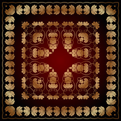 abstract pattern with golden floral ornaments on a red and black background