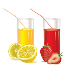 set of two glasses on a white background fresh strawberry juice and lemonade, ripe strawberries image and its slices, half yellow lemon and slices