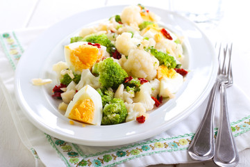 Broccoli and cauliflower egg salad