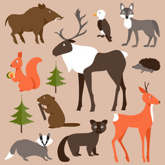 Set of forest animals. Vector Illustration
