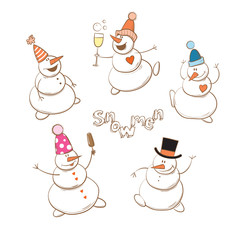 Vector winter set cute cartoon snowmen.
