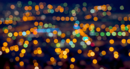 beautiful Christmas lights abstract  bokeh background, panorama