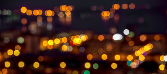 abstract circular bokeh city lights colorful background, panoram