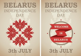 Celebration poster of Independence Day of Belarus in the national retro style